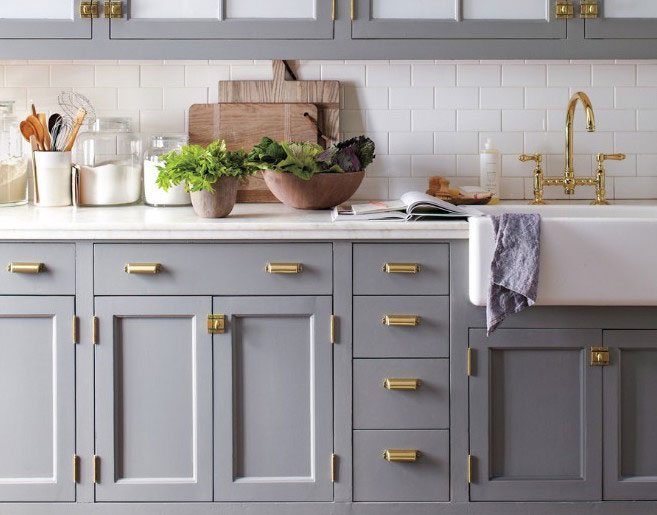 Grey Kitchen Cabinets And Stainless Steel Fixtures
